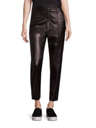 Vince Carrot Leather Ankle Pants Black