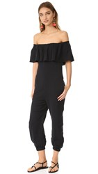 Mara Hoffman Off Shoulder Ruffle Jumpsuit Black