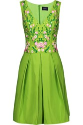 Marchesa Notte Pleated Embroidered Faille Dress Bright Green