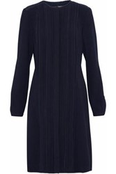 Mikael Aghal Lace Paneled Pintucked Crepe Dress Midnight Blue