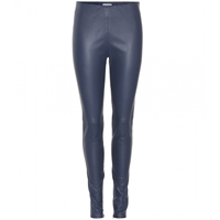 Balenciaga Leather Leggings Grey Navy