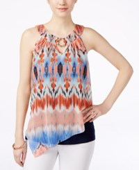 Amy Byer Bcx Juniors' Tie Dye Printed Overlay Tank Top Multi