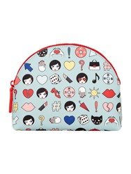 Lulu Guinness Lulumoji Print Med Crescent Pouch Multi Coloured Multi Coloured