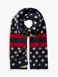 Joules Jacquelyn Stripe And Spot Scarf Navy Mix