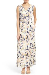 Women's Lucky Brand 'Floral Spritz' Print V Neck Drawstring Maxi Dress