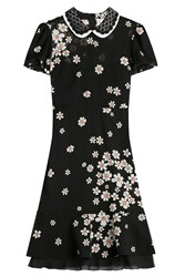 Red Valentino Floral Print Silk Dress Black