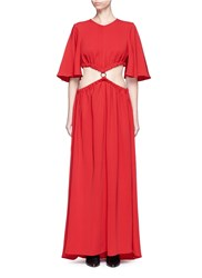 Ellery 'Solar System' Ruched Cut Out Maxi Dress Red
