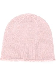 Pringle Of Scotland Lion Emblem Cashmere Beanie In Blush Melange Pink And Purple