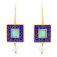 Kastur Jewels Enamel And Glass Pearl Drop Earrings White Blue Gold