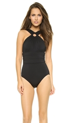 Michael Kors High Neck Shirred Maillot Black