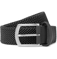 Andersons 3.5Cm Grey Leather Trimmed Woven Elastic Belt Dark Gray