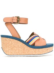 See By Chloe Striped Crossover Wedge Sandals Nude And Neutrals