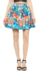 Alice Olivia Stora Box Pleat Pouf Skirt Butterfly Paradise