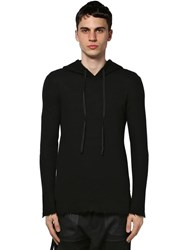 Unravel Hooded Cashmere Knit Sweater Black