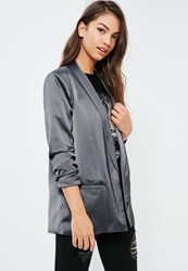 Missguided Grey Gathered Sleeve Satin Longline Blazer