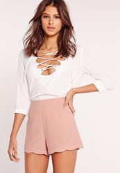 Missguided Scallop Hem High Waisted Shorts Blush Pink Pink