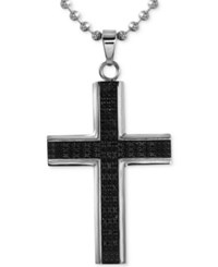 Macy's Men's Diamond Cross Pendant Necklace 1 2 Ct. T.W. In Stainless Steel With Rhodium Plating Black