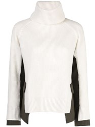 Sacai Panelled Roll Neck Jumper White
