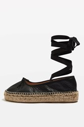 Topshop Kastle Lace Up Espadrilles Black