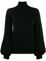 P.A.R.O.S.H. Roll Neck Cut Out Front Sweater Black