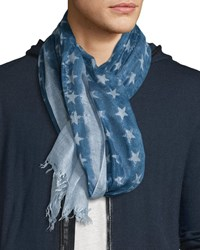 John Varvatos Cashmere Blend Star Print Scarf Regal Blue