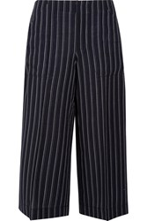 Acne Studios Texel Cropped Pinstriped Wool Twill Wide Leg Pants Navy