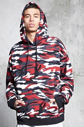 Forever 21 Fleece Camo Print Hoodie Black Red