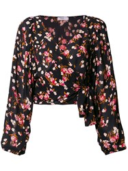 A.L.C. Floral Wrap Blouse Black