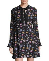 Free Generation Floral Print Long Sleeve Dress Black