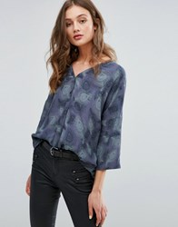 Only Ace Oversize Wrap Blouse Deep Well Peacock Black