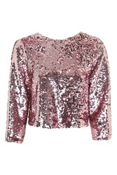 Topshop Sequin Bow Back Top Pink
