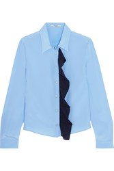 Prada Ruffled Silk Crepe De Chine Shirt Light Blue