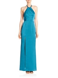 Abs By Allen Schwartz Open Back Halter Gown Peacock