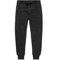Burberry Haleford Tapered Satin Trimmed Loopback Cotton Jersey Sweatpants Black
