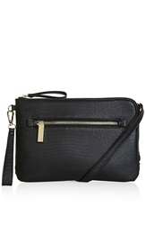 Topshop Faux Snakeskin Zip Clutch Black