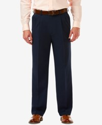 Haggar Men's Cool 18 Pro Classic Fit Stretch Pleated Dress Pants Navy