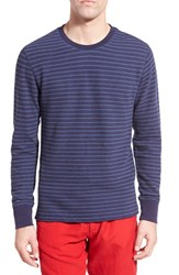 Men's Relwen Stripe French Terry Long Sleeve Crewneck Sweater Navy Stripe