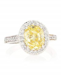 Fantasia Oval Cut Canary Yellow Cz Pave Ring