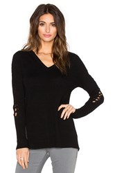 White Warren Lace Up V Neck Sweater Black