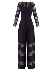 Huishan Zhang Faye Lace Panelled Crepe Jumpsuit Navy