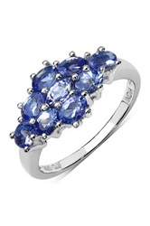 Olivia Leone Sterling Silver Oval Tanzanite Cluster Ring Purple