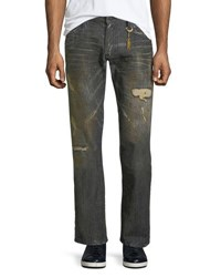 Robin's Jeans Distressed Straight Leg Black