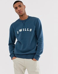 Jack Wills Callington Graphic Crew Neck Sweat In Navy