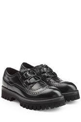 Dolce And Gabbana Leather Lace Ups With Chunky Sole Black