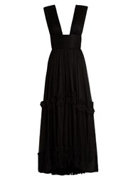 Maria Lucia Hohan Pleated Silk Mouselline Gown Black