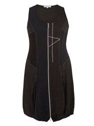 Chesca Plus Size Linen Zip Dress Black