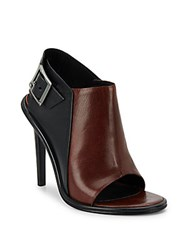 Tibi Milou Bicolor Leather Open Toe Ankle Boots Red Black
