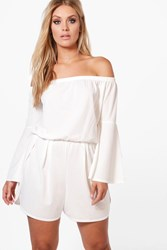 Boohoo Maria Off The Shoulder Flared Sleeve Playsuit White