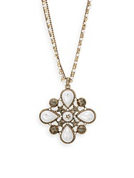 Cara Teardrop And Star Cluster Pendant Necklace Goldtone Gold Pearl