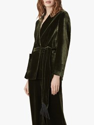Jaeger Velvet Shawl Collar Jacket Green